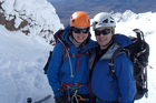 Hiroki Ogawa and Nicole Sutton climbing on Mt Ruapehu in August.