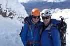 Hiroki Ogawa and Nicole Sutton climbing on Mt Ruapehu in August.