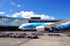 The 787 Dreamliner arrived at Auckland Airport today. Photo / Greg Bowker
