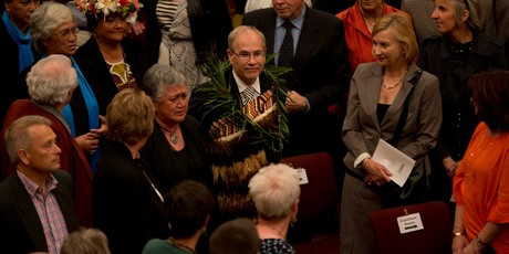 Auckland City mayor Len Brown during the Council's inaugural meeting at the Auckland Town hall this evening. Photo / Brett Phibbs