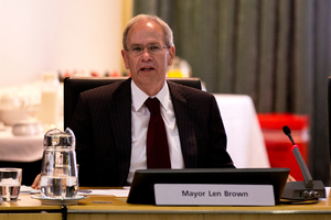 Mayor Len Brown during the first Auckland Council meeting for the new elected council. Photo / Dean Purcell