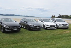 Volvo NZ's new line-up. From left: The V60, V40 Cross Country D4, Cross Country T5, and the facelift XC60. Photo / Liz Dobson