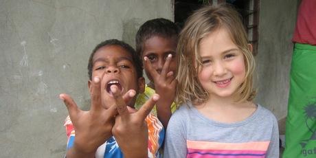 Orisi and Mia Kara at the Fijian village Vunaqow on the Sigatoka River.