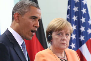 The newspaper  Bild am Sonntag , citing an unnamed NSA official, says Mr Obama has known about the phone tap on Mrs Merkel for at least three years. Photo / AP