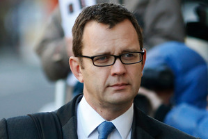 Former News of the World editor Andy Coulson arrives at the Central Criminal Court in London. Photo / AP