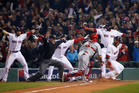 St Louis catcher Yadier Molina looks back as home plate umpire Jim Joyce calls Boston's Jonny Gomes safe.  Photo / AP