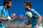 All Blacks lock Sam Whitelock with his brother Luke Whitelock, during All Blacks team training session. Photo / Getty Images