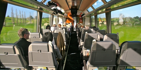 The interior of the train's new carriages is light, airy, comfortable and with big sightseers' windows.