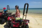 Quad biking at Tangalooma Beach. Photo / Ellie Mitchell