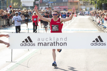 Watch runners cross the link in the Auckland Marathon.Photo / Richard Robinson