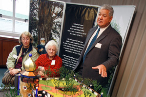 NAD 26May11- Whangarei District Councillor Kahu Sutherland at the unveiling of a model of the Hundertwasser building planned for the Whangarei Town Basin on the site of the old NRC headquarters. PHOT