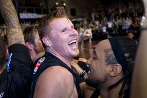 Gary Wilkinson celebrates a win in 2011, during his previous stint with the Breakers. File photo / APN