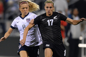 A late Hannah Wilkinson equaliser has earned the Football Ferns a 1-1 draw against the USA in an international friendly in Columbus today. Photo / Getty Images.