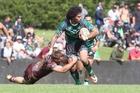 New Zealand Maori league player Jay Pukepuke makes a break through the Murri Queensland Indigenous side's defensive line during his team's 34-16 win at Puketawhero Park. Photo / Andrew Warner