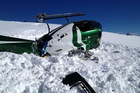 The Squirrel helicopter after it reportedly clipped a stationary helicopter and crashed on the Tyndall Glacier