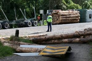 Police at the logging truck crash on Mangakahia Rd. Photo/Michael Cunningham