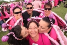 Breast cancer survivor Desiree Klomp (front centre) with her team (clockwise from bottom left) Anne Long, Shelley Solomon, Albert Solomon, Liz Wycliff and Janine George. Photo/Ben Fraser