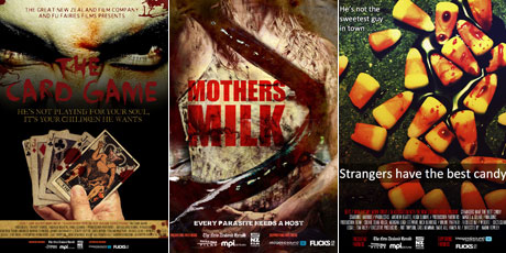 Movie posters for The Card Game, Mothers Milk and Strangers Have The Best Candy.