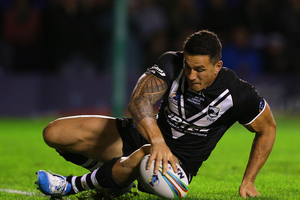 Sonny Bill Williams botches a try after slipping over the deadball line. Photo / Getty Images