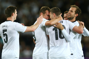 New Zealand All Whites celebrate a goal during the FIFA World Cup Qualifier match between the New Zealand All Whites and New Caledonia. File photo / Getty Images
