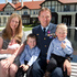 Squadron Leader Ben Pryor with his wife Jennifer and children, from left, Ashleigh, 7 months, Craig, 2 and Hamish, 4, after receiving the New Zealand Gallantry Medal at Government House, Wellington. Photo / Mark Mitchell