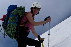 Heather Rhodes, 36, who fell 300m down a glacier, remains in a serious condition in hospital.