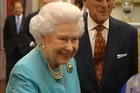 The Queen wore the blue pearl and gold brooch at a private reception last week.