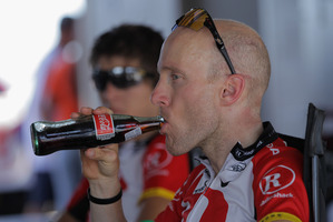 Levi Leipheimer of the USA and riding for Team Radioshack drinks a Mexi-Coke. Photo / Getty Images