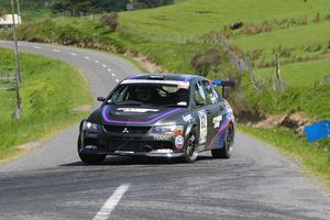 Extending their overall lead today in this year's Targa NZ tarmac motor rally were Auckland Mitsubishi Evo9GT pair Jason Gill and Mark Robinson. Photo / Groundsky.co.nz