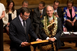 Councillor Cameron Brewer (left) is critical of Mayor Len Brown's move to institute a living wage. Photo / Brett Phibbs
