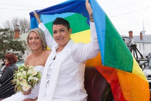 Melissa Ray (left) and Tash Vitali say being married has not changed their life much although they are making plans for the future. Photo / Greg Bowker
