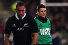 Aaron Cruden prepares to kick under Dan Carter's watchful eye. Photo / Getty Images
