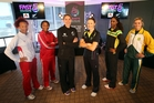 England's Serena Guthrie, Malawi's Caroline Mtukule, New Zealand's Casey Kopua, Aussie Susan Pratley, Jamaica's Malysha Kelly and South Africa's Maryka Holtzhausen at the captains' call. Photo / Michael Bradley