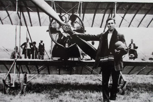 J. H. Scotland with his Caudron biplane in Otaki. (Museum of Aviation, Kapiti)