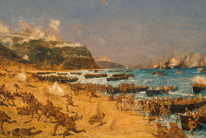 'The landing at Anzac, 1915', by Charles Dixon. (Archives New Zealand)