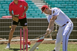 Arizona star Goldschmidt gives cricket a crack at the SCG. Photo / AP