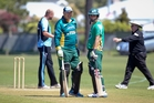 Mark Greatbatch joins Mathew Sinclair at the crease during his testimonial match at Nelson Park, Napier, yesterday.
