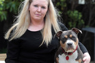 Kimberley Warder with her American Staffy, Sequoia. Photo / Doug Sherring