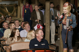 Parton at Dollywood, the theme park she opened in Pigeon Forge, Tennessee. Photo / AP