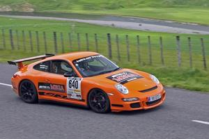 This year's Targa NZ winners were Dunedin pair Martin Dippie and Jona Grant in their Porsche GT3 RS. Photo / groundsky.co.nz