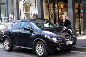 World designer Denise Le'Strange Corbet with her Nissan Juke. Photo / Nigel Marple