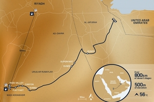 The map of the route the Range Rover Sport took across the Empty Quarter desert, in the Arabian Peninsula, in record time.