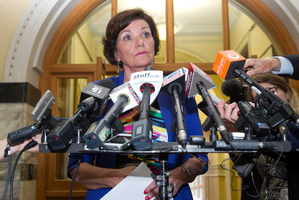 Police Minister Anne Tolley during a press conference over the Roast Busters scandal at Parliament in Wellington. Photo / Mark Mitchell