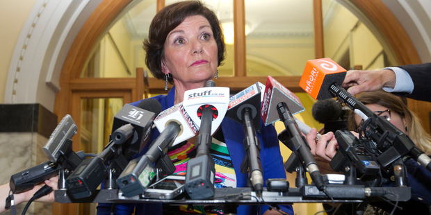 Police Minister Anne Tolley faces the media after her meeting with Police Commissioner Peter Marshall. Photo / Mark Mitchell