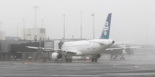 An Air New Zealand jet in thick fog at Wellington International Airport. Photo / Mark Mitchell