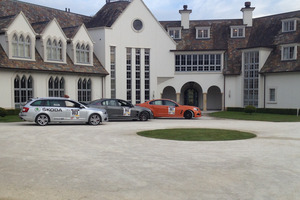 The Targa sweeper cars resting at the Dotcom mansion. Photo / Matt Greenop