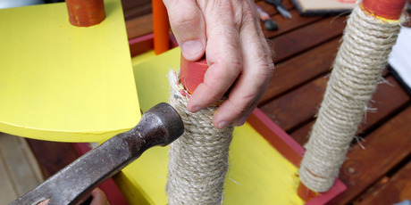Step 2, wrap rope around post. Photo / Michael Craig