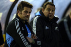 Richie McCaw with All Black Coach Steve Hansen. Photo / Getty Images