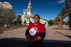 Lesieli Moua, one of Auckland Council cleaners paid below the living wage. Photo /  Michael Craig