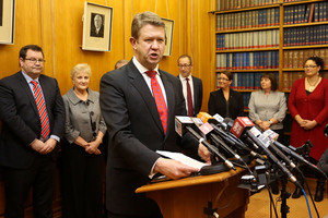 Labour leader David Cunliffe speaks in front of his new shadow cabinet line-up. Photo / Getty Images